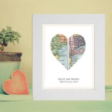 A4 Vintage Map Framed Heart Print Displaying 2 Locations - Unique Wedding, Anniversary Gift, Housewarming, Bon Voyage - Choice of Frame